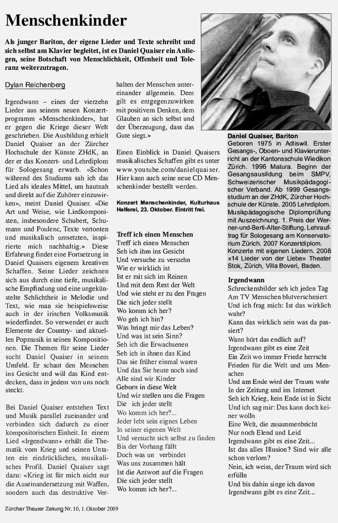 Daniel Quaiser, Theater Zeitung, Dylan Reichenberg, Menschenkinder, Nr. 10, 01.10.2009