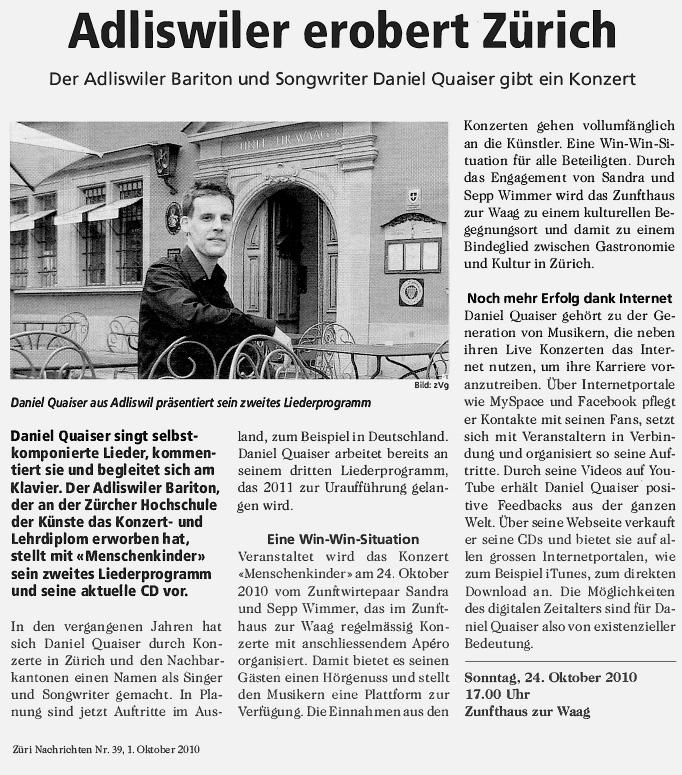 Daniel Quaiser Züri Nachrichten Adliswiler erobert Zürich Nr. 39 01.10.2010